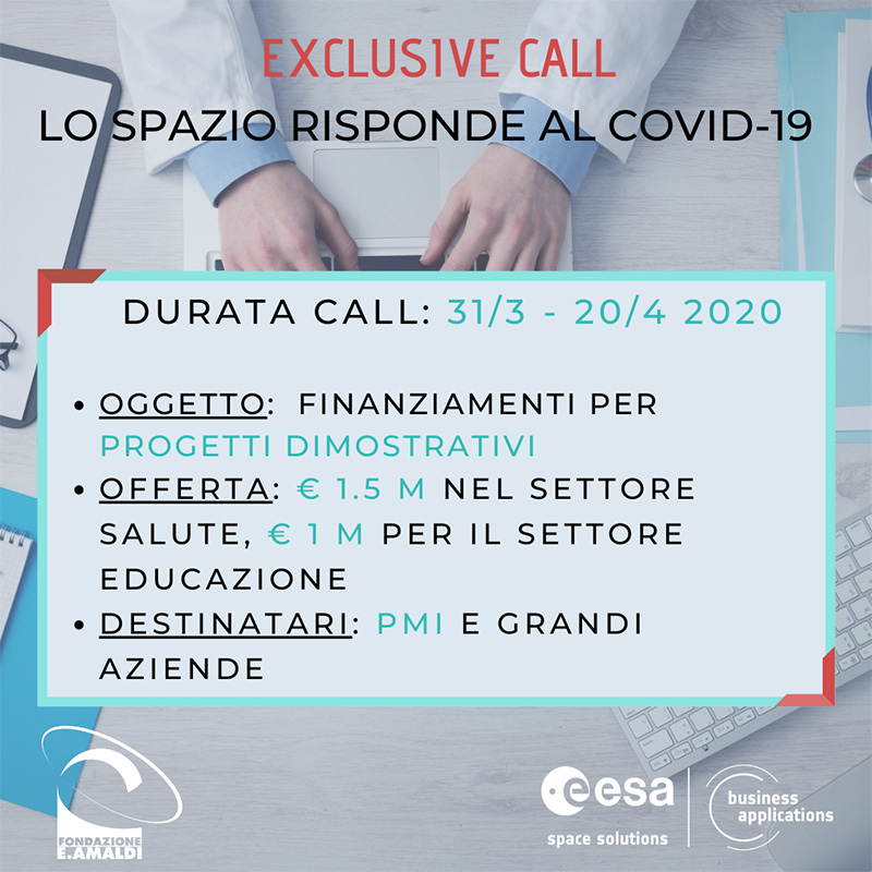 Extraordinary ESA Business Applications Call: Spazio answers to Covid-19